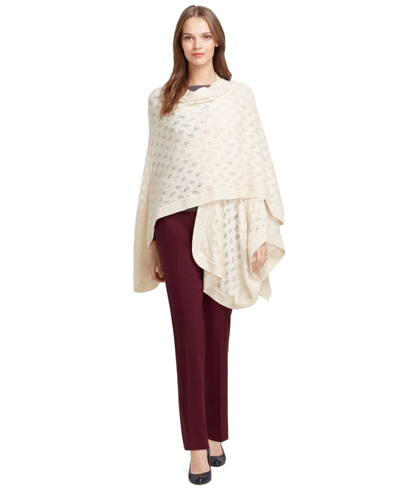 Cashmere and Wool Pointelle Ruana Ivory