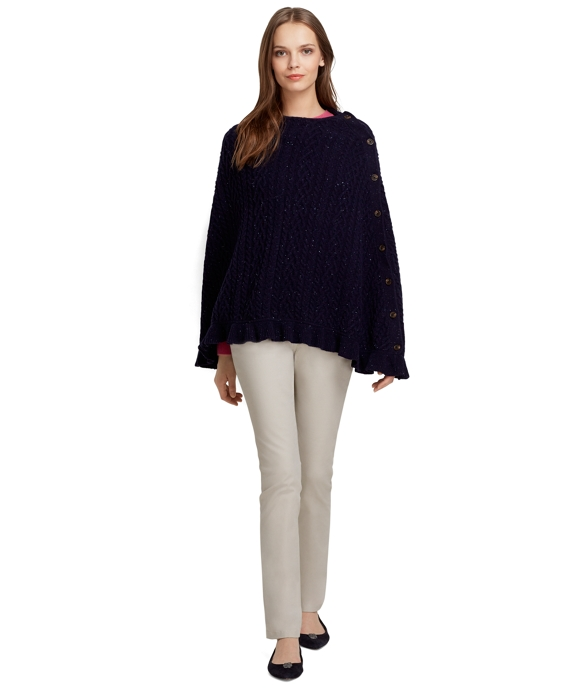 Saxxon Wool Cable Knit Capelet Navy
