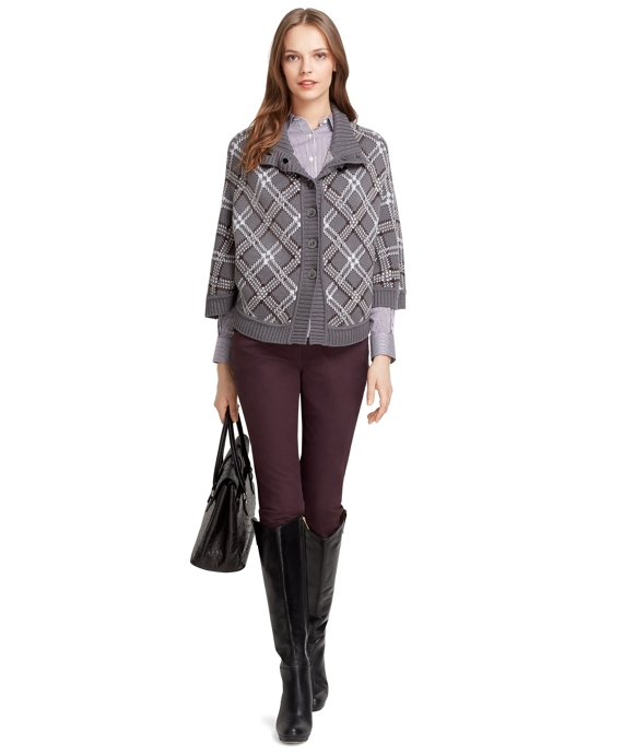 Saxxon Wool Tartan Cape Grey