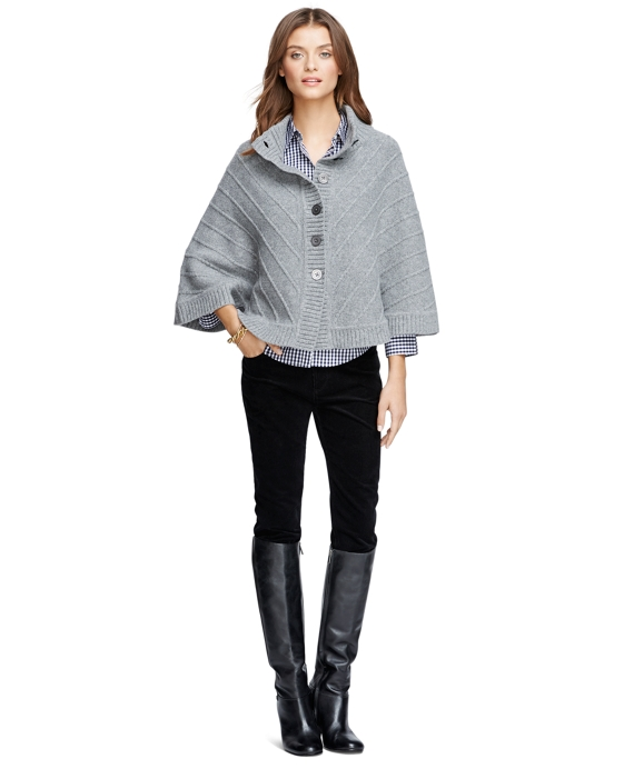 Merino Wool Button-Front Cape Grey