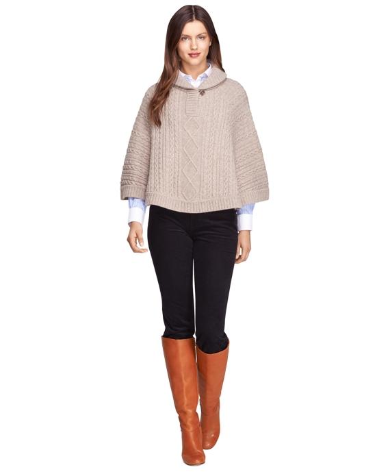 Merino Wool Pullover Cape Tan