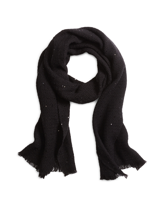 Wool Blend Sequined Wrap Black
