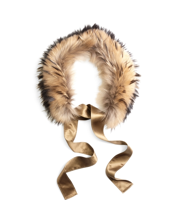 Raccoon Fur Collar with Silk Crepe Ribbon Tie Natural