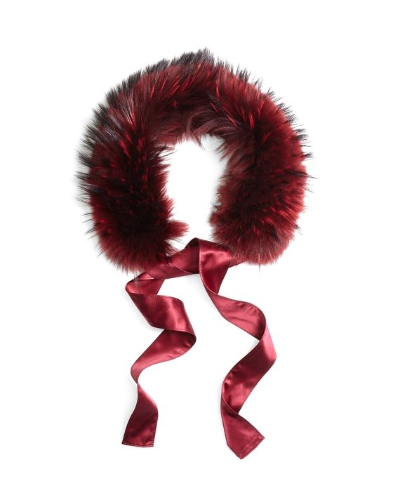 Raccoon Fur Collar with Silk Crepe Ribbon Tie Red