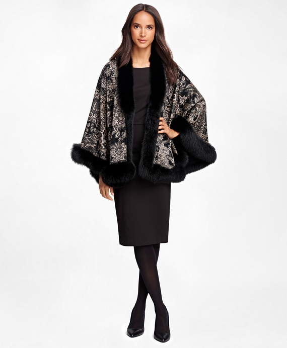 Cashmere Paisley Ruana with Fox Fur Trim Black