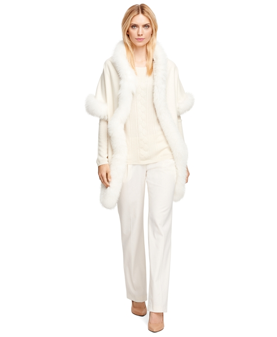 Cashmere Wrap with Fox Fur Trim White