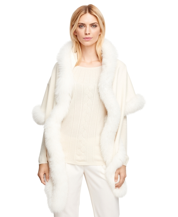 Women's White Cashmere Wrap with Fox Fur Trim | Brooks Brothers