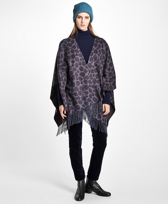 Double-Faced Animal-Print Cashmere Ruana Grey-Blue