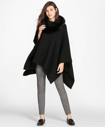 Fox-Fur-Trimmed Cashmere Poncho
