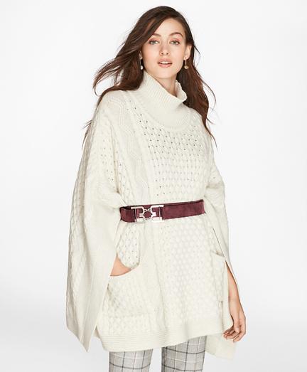 Mixed-Stitch Wool-Cashmere Turtleneck Poncho