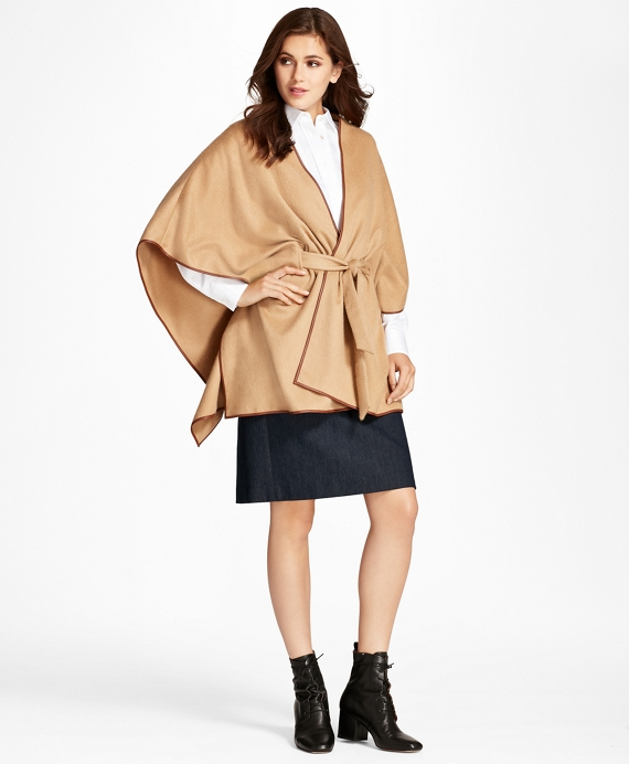 Leather-Trimmed Cashmere Kimono Camel