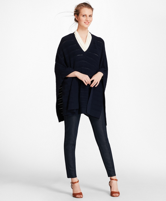 Cable-Knit Merino Wool Poncho Navy