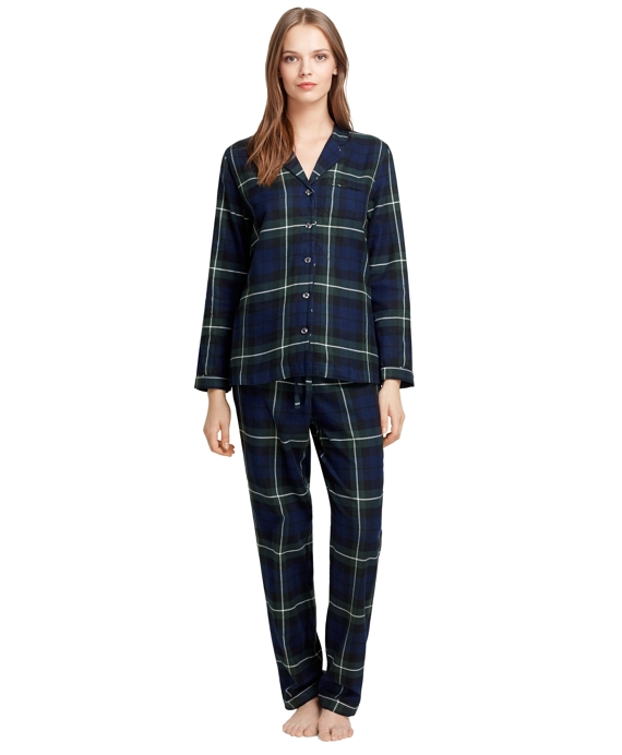 Blackwatch Plaid Flannel Pajamas Black-Dark Green