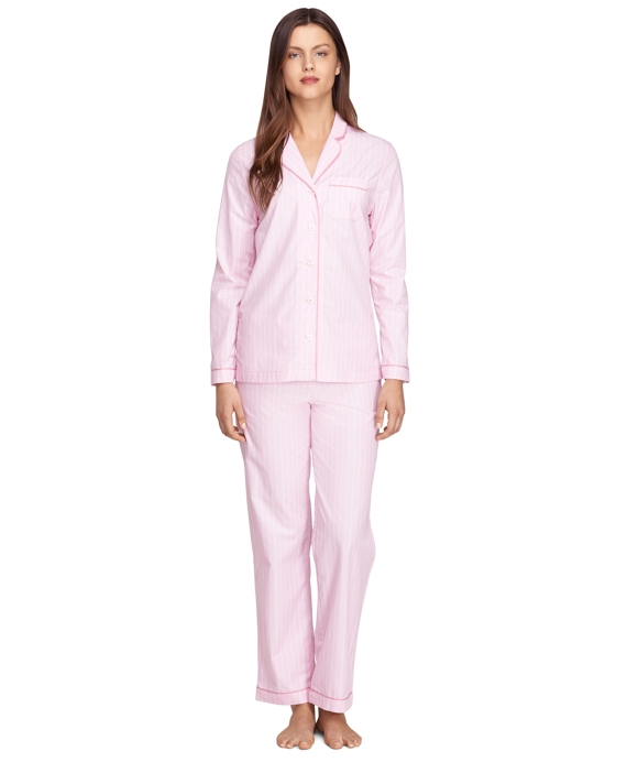 Cotton Stripe Pajama Set Pink