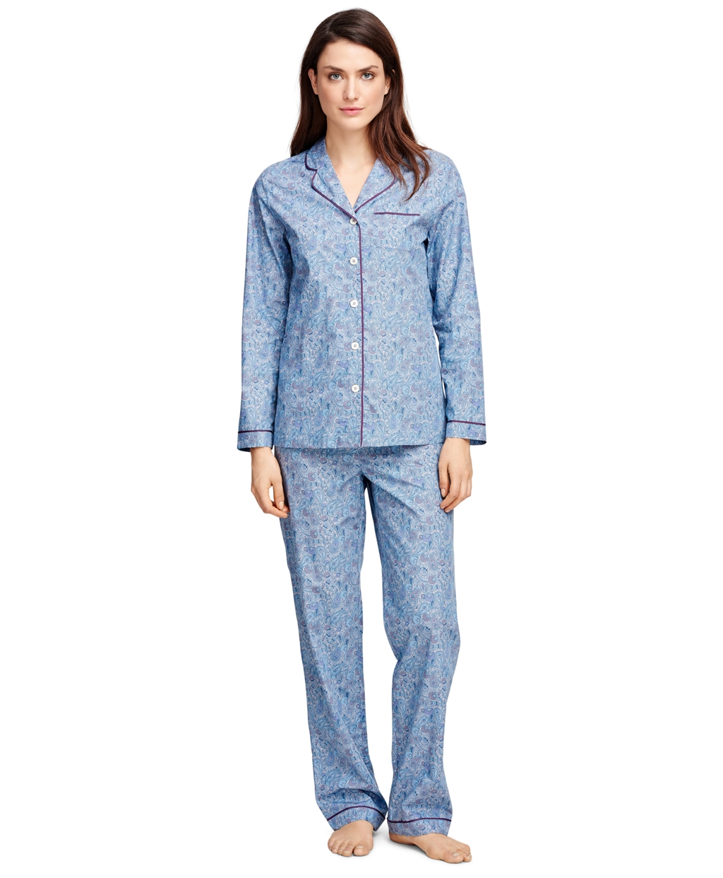 Women's Cotton Black and Red Plaid Flannel Pajama Set | Brooks ...