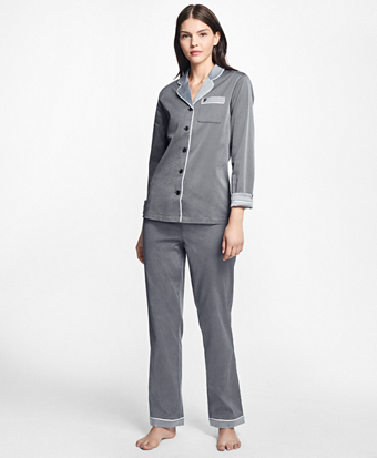 Polka-Dot Cotton Dobby Pajama Set