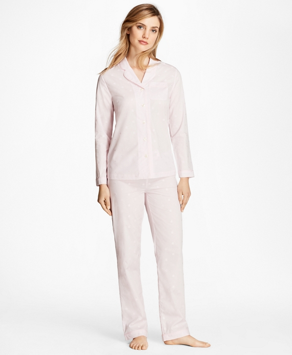 Fleece-Logo Cotton Jacquard Pajama Set