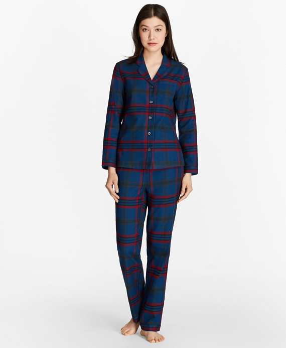 Tartan Cotton Flannel Pajama Set Blue-Multi