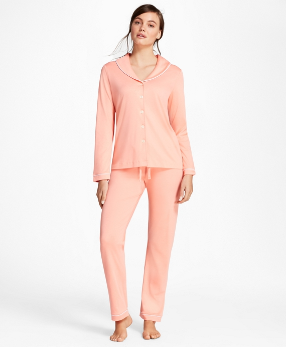 Shawl-Collar Pima Cotton Interlock Jersey Pajama Set Coral