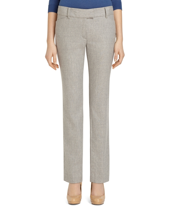 Lucia Fit Wool Flannel Slim Trousers Grey