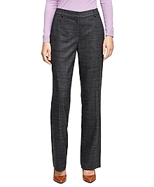 Caroline Fit Saxxon Wool Plaid Trousers