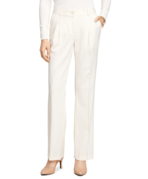 Lucia Fit Wool Gabardine Trousers Ivory