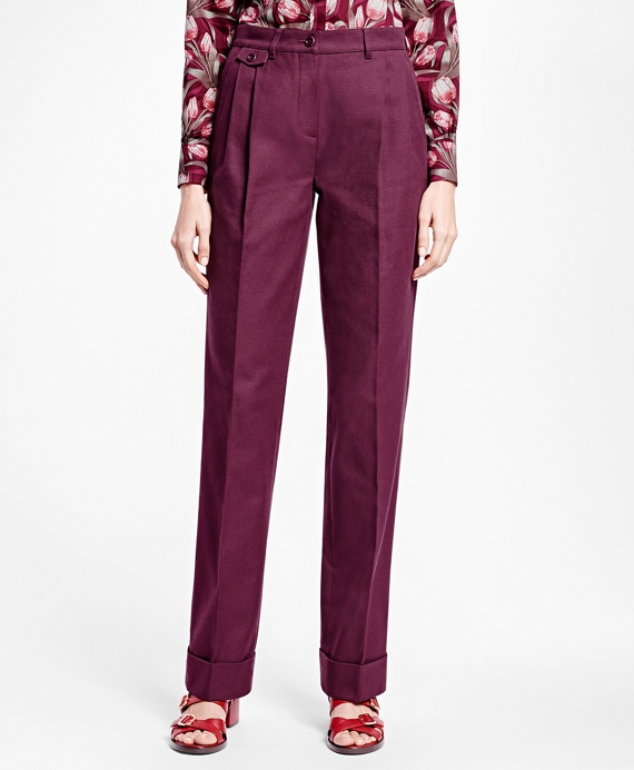 Pleated Cotton Canvas Trousers