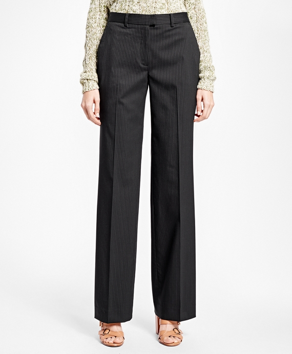 Stretch Wool Pinstripe Trousers Black