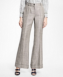 Wide-Leg Cuffed Glen Plaid Trousers