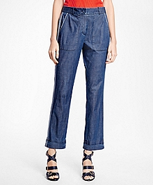Washed Chambray Cuffed Trousers