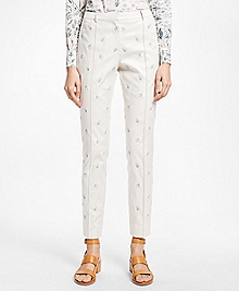 Floral-Motif Stretch Cotton Twill Pants
