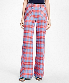 Flared-Leg Cotton Plaid Bias Pants