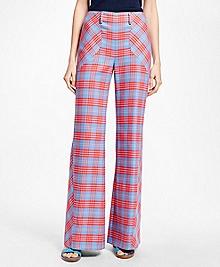 Flared-Leg Cotton Plaid Bias Pants