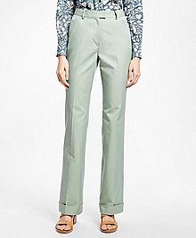 Wide-Leg Cuffed Cotton-Blend Pants