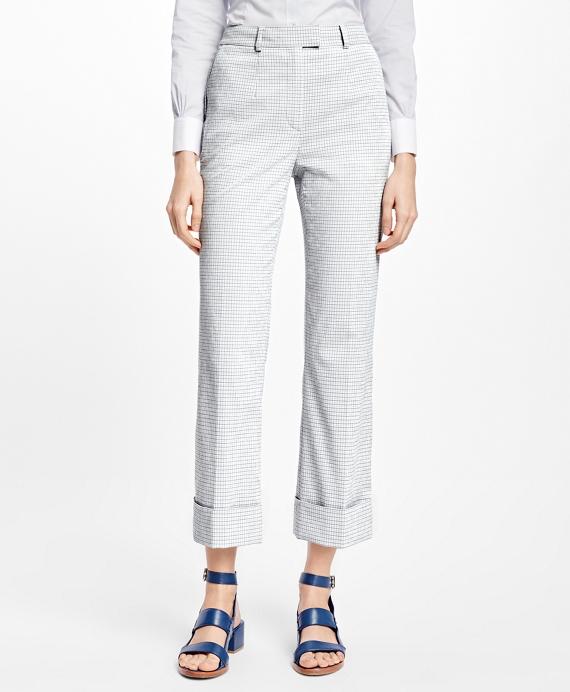 Cropped Wide-Leg Seersucker Pants Grey