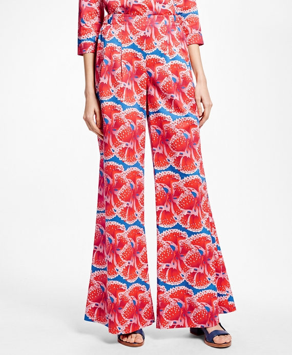 Floral-Print Cotton Sateen Pants Red