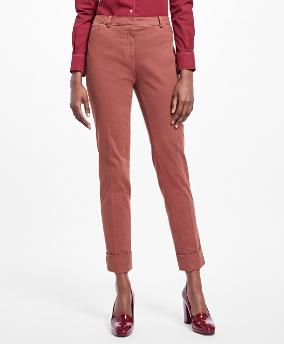 Cuffed Stretch Cotton Oxford Pants