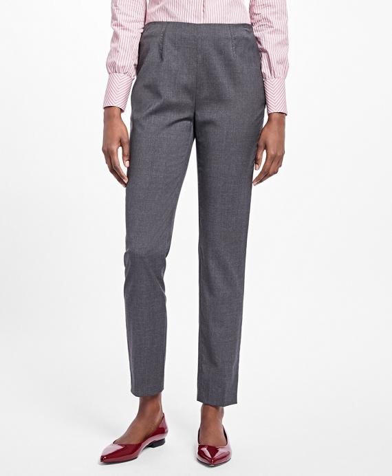 Slim Cropped Tropical Wool Pants Grey