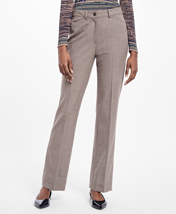 Flared Twill Houndstooth Trousers Navy