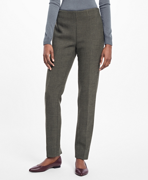 Stretch-Wool Dress Pants Dark Green