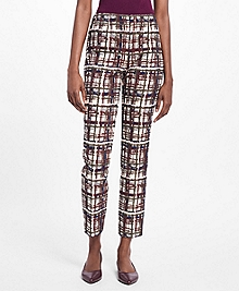 Plaid Jacquard Stretch-Cotton Dress Pants