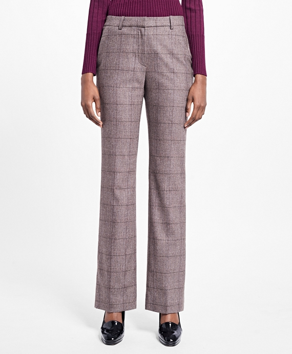 Flared Stretch Tweed Dress Pants Lilac