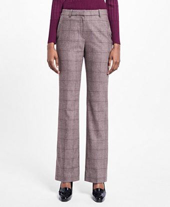 Flared Stretch Tweed Dress Pants