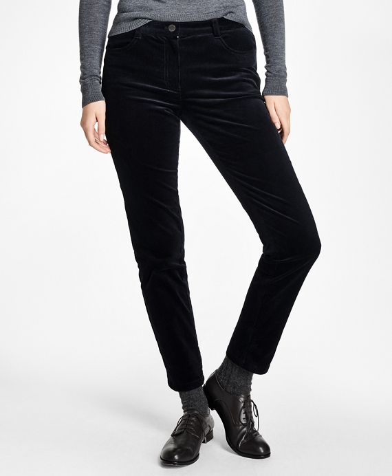 Slim Stretch Cotton Velvet Corduroys Black