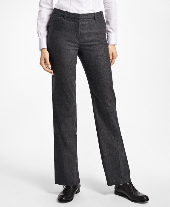 Wool-Blend Flannel Full-Leg Trousers Grey