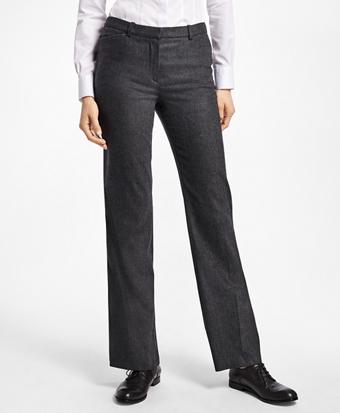 Wool-Blend Flannel Full-Leg Trousers