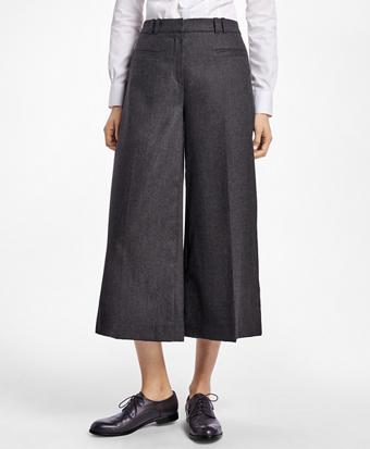 Wool-Blend Flannel Wide-Leg Culottes