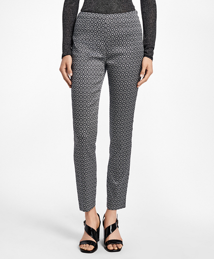 Slim-Fit Art Deco Geo-Jacquard Pants
