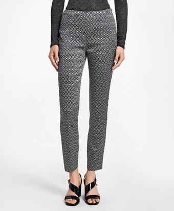 Slim-Fit Art Deco Geo-Jacquard Pants