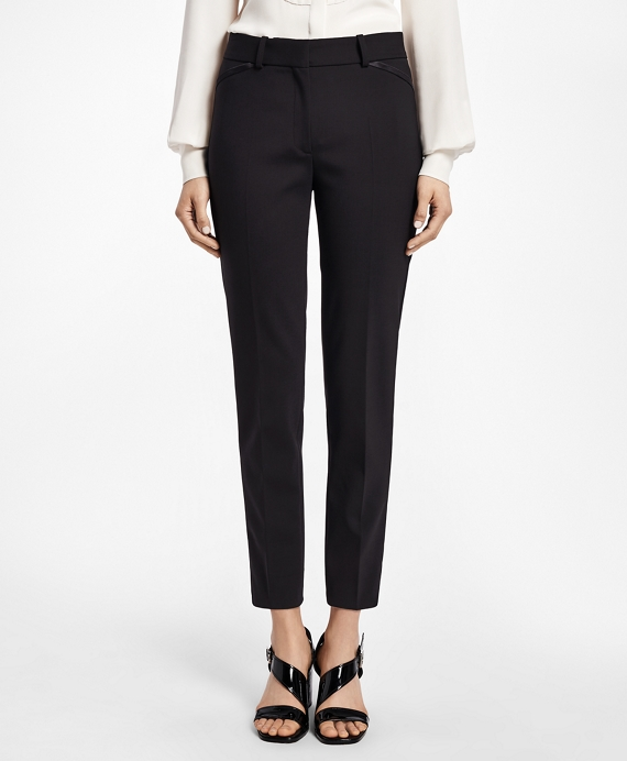 Slim-Fit Stretch Wool Tuxedo Pants Black